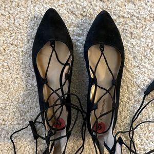 BCBG Black Lace Up Flats with Tassels